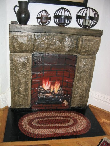 Lookout Studios Murals - Faux Fireplace and Braided Rug